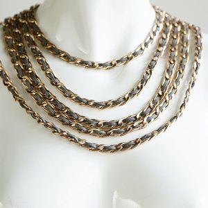 Gold And Grey Leather Chunky 5 strand Necklace
